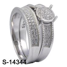 925 joyería de plata micro ajuste Zirconia con anillo de los gemelos de las mujeres (S-14344)