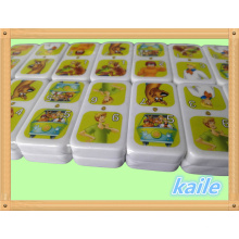 Hot sale cartoon theme colorful domino with plastic box