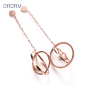 Keren Rose Gold Dangle Lingkaran Earrings Untuk Girls