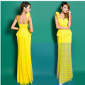 European and American lace condole with flower nail-ball party long evening dress dress