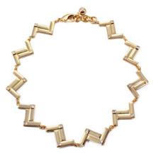 Collar de aleación de oro de la onda (XJW13702)