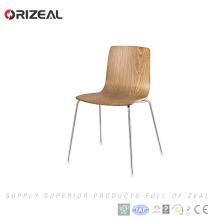 Clásico diseño ergonómico de madera amo los muebles del hogar de metal con respaldo de madera contrachapada restaurante bistró sillas para comedor OZ-1022