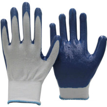NMSAFETY 13 Gauge malha de nylon revestido de luvas de nitrilo azul / luva de nitrilo de trabalho / luva de segurança
