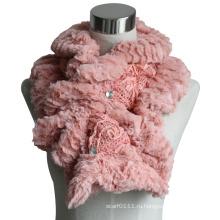 Леди мода хлопок полиэстер трикотажные меховой шарф (YKY4365B-2)