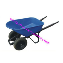 "120L plastic tray 16""*4""  wheels wooden handle wheelbarrow"