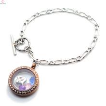 Pulsera de medallón flotante de cadena de NK 1: 1 de acero inoxidable personalizado, pulsera de medallón de plata y chocolate