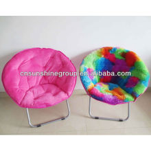 Folding comfortable round moon chair with durable and padded seating