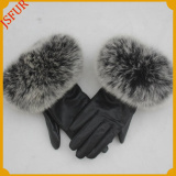 Fast Sell Winter Warm Leather Gloves With Raccoon Fur Cuff Golves