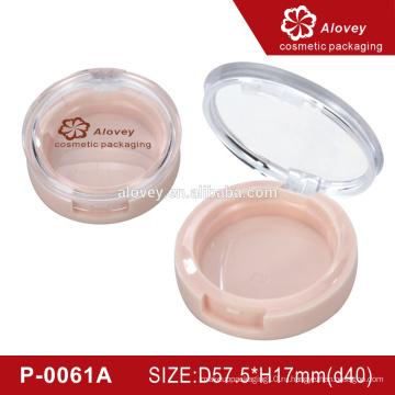 Розовый круглая компактная пудра с зеркалом