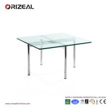Mesa de centro cuadrada de cristal Orizeal con patas de metal (OZ-OTB003)