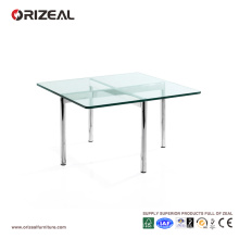 Orizeal стеклянный квадратный журнальный столик с металлическими ножками (ОЗ-OTB003)