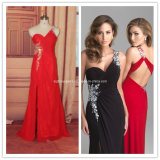 Sexy One Shoulder Red/Black/White Long Evening Prom Dress Beading Formal Occasions Gown (PD01)