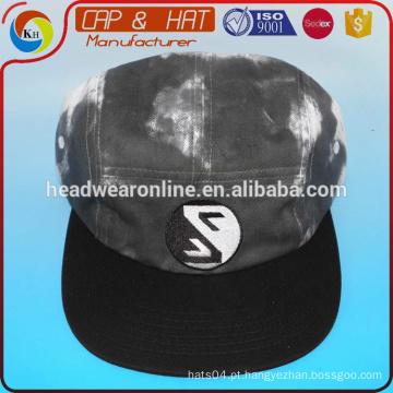 Preto e branco lavado tye dye 5 painel chapéu cap sport