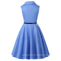 Grace Karin Flower Girl Dresses Summer Children Kids Girls Retro Vintage Sleeveless Lapel Collar Polka Dots Dress CL009000-4