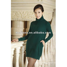 elegant ladies knitting sweater dress/100% pure cashmere