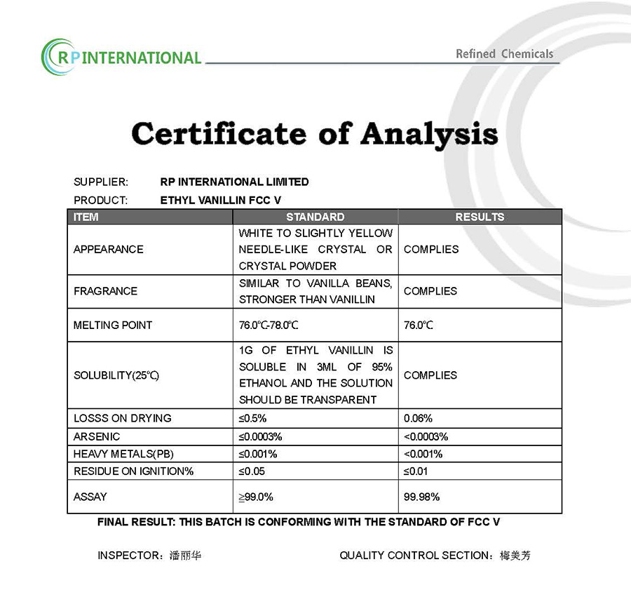 Specification-Ethyl Vanillin
