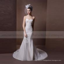 Beautiful pleated heart line mermaid lace and beads satin wedding dress