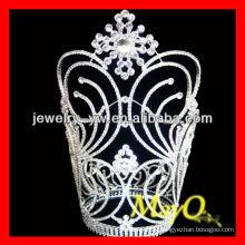 Diseño de flores Gran corona de desfile de diamantes, anillos en forma de corona, gran corona de boda con cristal