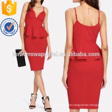 Plunging Peplum Top & Pencil Skirt Set Manufacture Wholesale Fashion Women Apparel (TA4065SS)