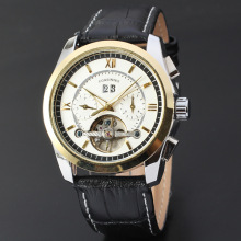 ? Mens Automatic Movemen Fashion Läder Rem Watch