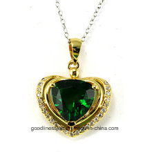Heart Shape and New Heart Fashion 925 Sterling Silver Diamond Pendant P4991g