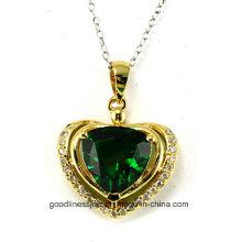 Forma Coração e Coração Novo 925 Sterling Silver Diamond Pendant P4991g