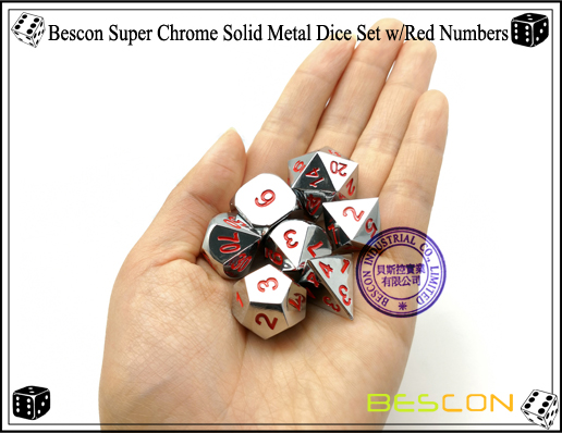 Bescon Super Chrome Solid Metal Dice Set with Red Numbers-4