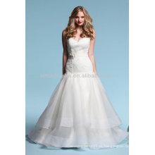 Flawless 2014 Sweetheart Lace Top Bodice Tiered falda sexy bajo sin espalda A-Line vestidos de novia de organza vestido NB015