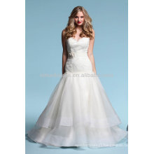 Flawless 2014 Sweetheart Lace Top Bodice Tiered Skirt Sexy Low Backless A-Line Organza Wedding Dress Gowns NB015