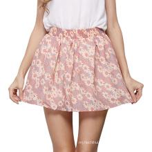 Wholesale ladies short skirt designs print chiffon elastic waist flower latest fashion short skirt