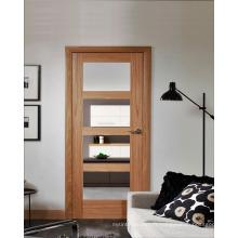 Porte d'intérieur en placage de chêne naturel Design moderne avec verre