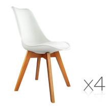 Белые обеденные стулья PU