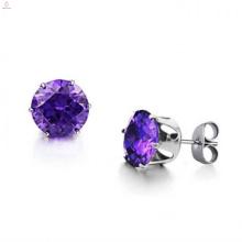 Diseños con estilo de moda nuevo modelo grande elegante amatista oro studearrings del diamante