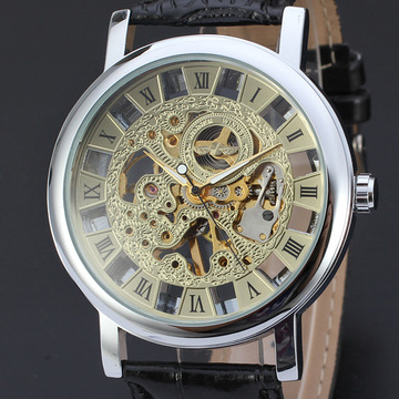 hign gloss leather band watch 3 atm water resistant alloy watch for men