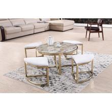 Cadre en acier inoxydable brossé + Table basse en marbre