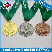 Gold/silver/bronze plating colour LZY custom high quality school medals