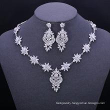 Fashion diy copper blue water drop shape zircon jewelry set