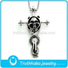L-P0003 Cruz Crucifixo de Aço Inoxidável Espada Encantadora Com Crânio Do Punk Pingente