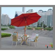 Tilt en bois Pole 8ribs tissu rouge parapluie