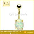 Surgical Steel Gold Plated Prong Synthetic Fire Opal Best friends Couple Belly Ring