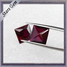 Dark Red Square Shape Princess Cut Cubic Zirconia Gemstone