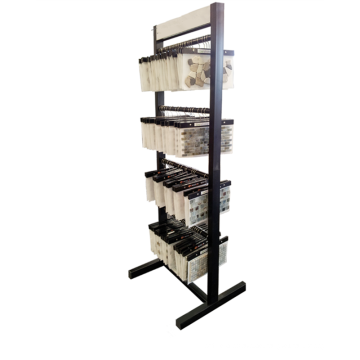 Fabrik Preis Custom Floorstanding Einfache Metall Stein Teppich 4-Layer Hanging Mosaik Display Stand
