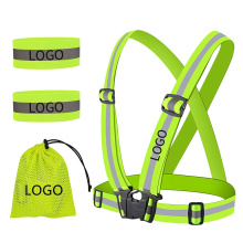 High Visibility Reflective Safety Vest Set Elastic Adjustable Running Gear Set Marathon Accessories Custom Logo