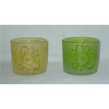 Set von 2 Hand Painting Mattglas Kerzenständer