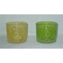 Set of 2 Hand Painting Frosted Glass Candle Holder
