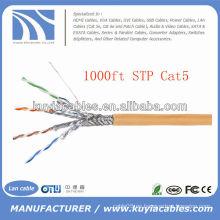 Naranja 1000FT 4pairs Cat5 cable de red STP