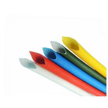 Tubo trenzado revestido de alta temperatura de la fibra de vidrio del silicón coloreado 1.5kv
