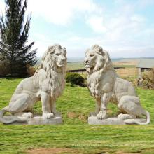 decoración de jardín al aire libre talla de piedra estatua de piedra grande del león