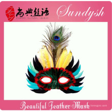 Cabeça de pássaro de festa artesanal exclusivo máscaras máscara de pena