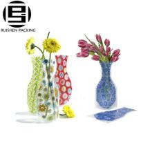 Vase forme transparente bopp imprimé sacs d'emballage de fleurs